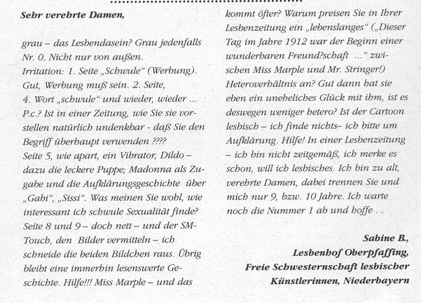Leserinnenbrief in Lespress,  Ausgabe November 1995